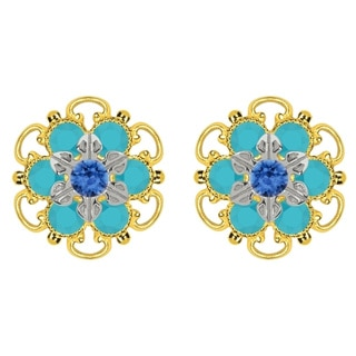 Lucia Costin Goldplated Sterling Silver Blue/ Turquoise Crystal Stud Earrings