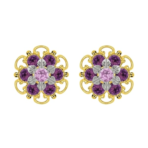 Lucia Costin Goldplated Sterling Silver Lilac/ Violet Crystal Stud Earrings
