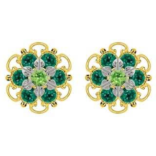 Lucia Costin Goldplated Sterling Silver Light and Dark Green Crystal Stud Earrings