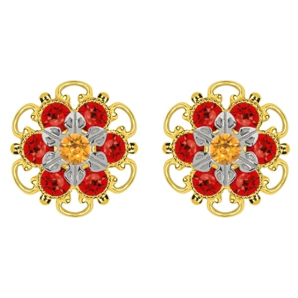 Lucia Costin Goldplated Sterling Silver Yellow/ Red Crystal Stud Earrings