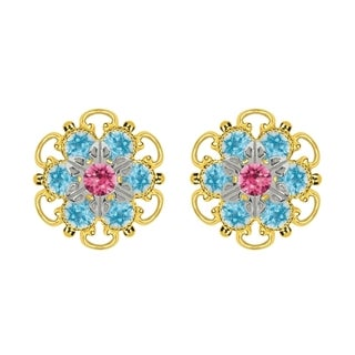 Lucia Costin Goldplated Sterling Silver Pink/ Light Blue Crystal Stud Earrings