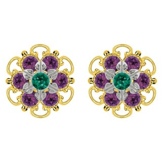 Lucia Costin Goldplated Sterling Silver Green/ Violet Crystal Stud Earrings