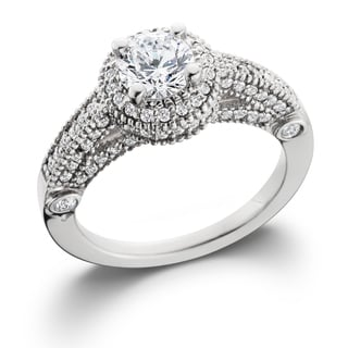 14k White Gold 1 1/10 ct TDW Vintage Diamond Round Engagement Wedding Ring (I-J, I2-I3)