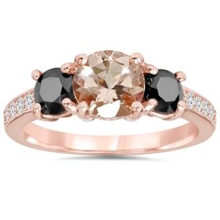 Bliss 14k Rose Gold 2ct TDW Black and White Diamond Morganite Ring (H-I, I2-I3)