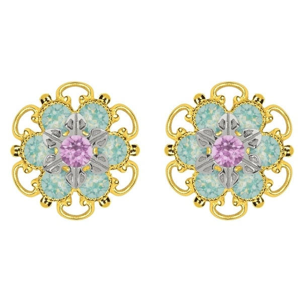Lucia Costin Yellow Gold Plated, Sterling Silver, Lilac, Mint Blue Swarovski Crystal, Stud Earrings