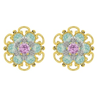 Lucia Costin Yellow Gold Plated, Sterling Silver, Lilac, Mint Blue Austrian Crystal, Stud Earrings