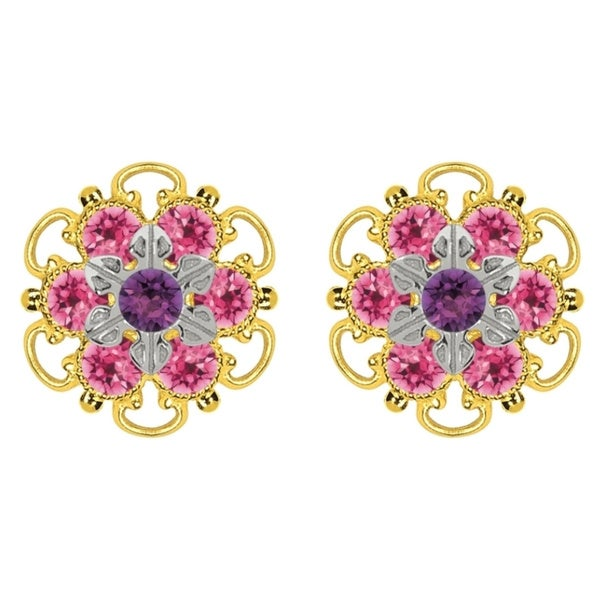 Lucia Costin Goldplated Sterling Silver Violet/ Pink Crystal Stud Earrings
