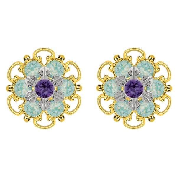 Lucia Costin Yellow Gold Plated, Sterling Silver, Mint Blue, Violet Swarovski Crystal, Stud Earrings