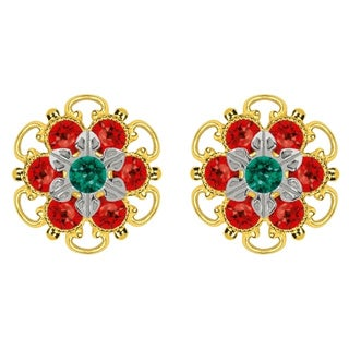 Lucia Costin Goldplated Sterling Silver Green/ Red Crystal Stud Earrings