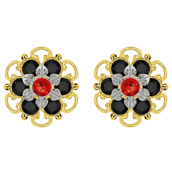 Lucia Costin Goldplated Sterling Silver Red/ Black Crystal Stud Earrings