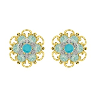 Lucia Costin Goldplated Sterling Silver Turquoise/ Mint Blue Crystal Stud Earrings