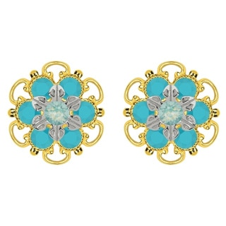 Lucia Costin Goldplated Sterling Silver Mint Blue/ Turquoise Crystal Stud Earrings