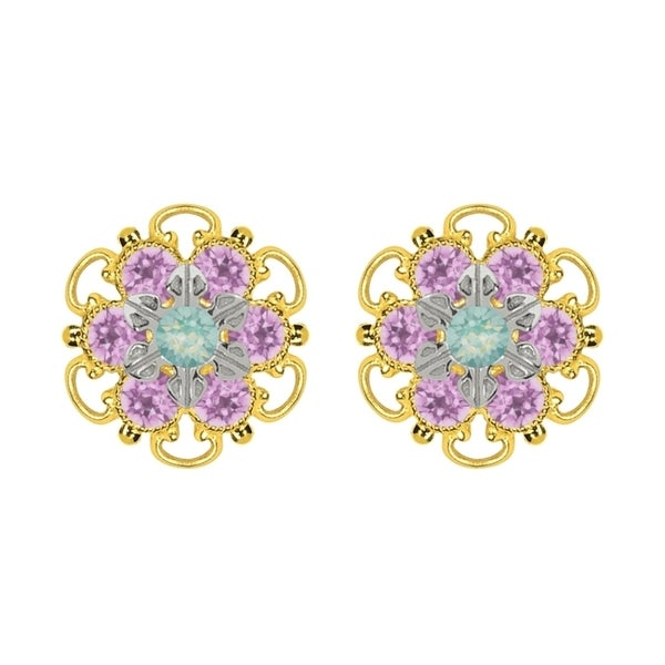 Lucia Costin Yellow Gold Plated, Sterling Silver, Mint Blue, Lilac Swarovski Crystal, Stud Earrings