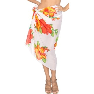 Women's Floral Printed Sheer Chiffon Red/ White Swim Sarong Cover-up