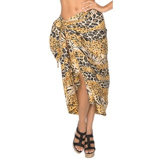 Women's Brown Animal Skin Print Beach Swim Sarong Cover-up