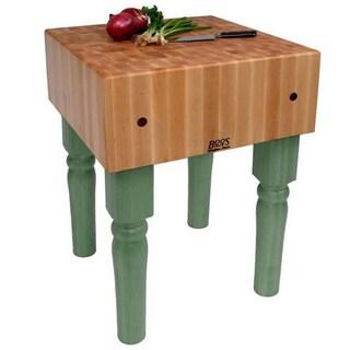 John Boos Basil Butcher Block Table with Bonus Henckles 13-piece Knife Set