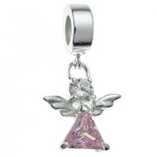Queenberry Sterling Silver Pink Cubic Zirconia Little Angel Dangle European Bead Charm