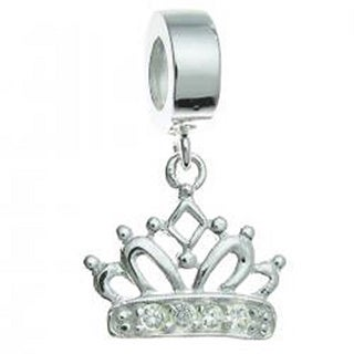 Queenberry Sterling Silver Cubic Zirconia Crown Dangle European Bead Charm