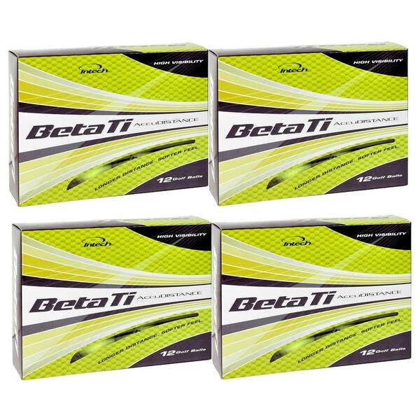 Intech Men's Beta Ti AccuDistance Golf Balls Hi-Visibility Yellow (Pack of 48)