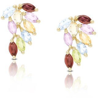 Dolce Giavonna Gold Over Sterling Silver Multi Gemstone Cluster Stud Earrings