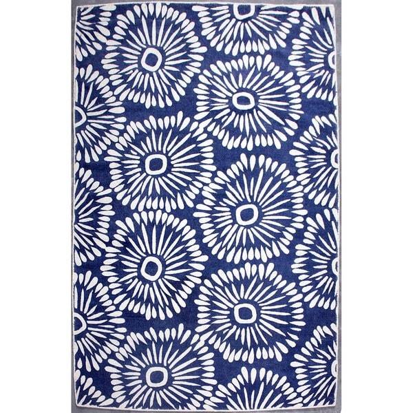 Handmade Casual Natural/Dark Blue Wool (5x8) Area Rug