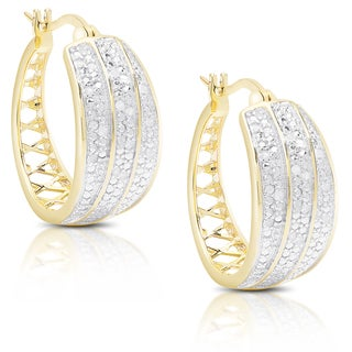Finesque Gold over Silver or Sterling Silver 1/5 Ct TDW Diamond Hoop Earrings
