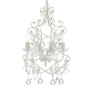 Wrought Iron and Crystal 4-light White Chandelier Pendant