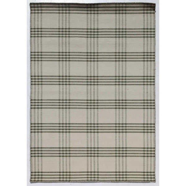 Flatweave Contemporary Forest Green/Forest Green Wool (5X8) Area Rug