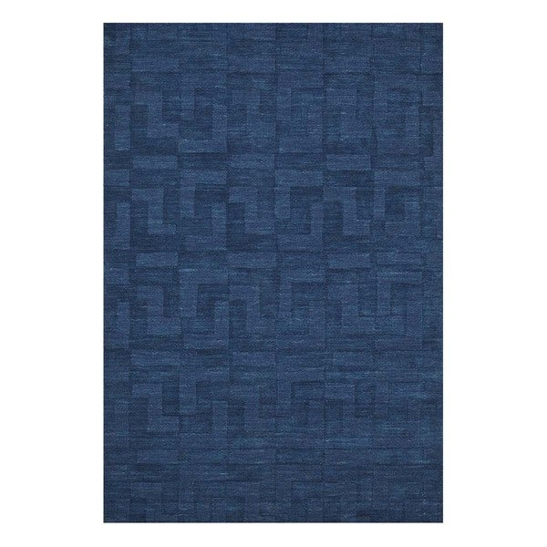 Handmade Casual Ensign Blue/Ensign Blue Wool (5x8) Area Rug