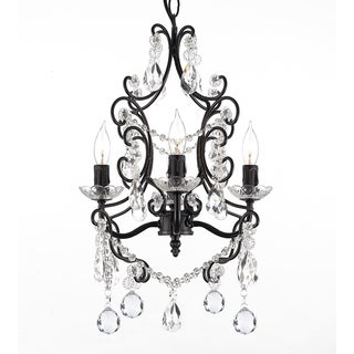 Wrought Iron and Crystal 4-light Black Chandelier Pendant