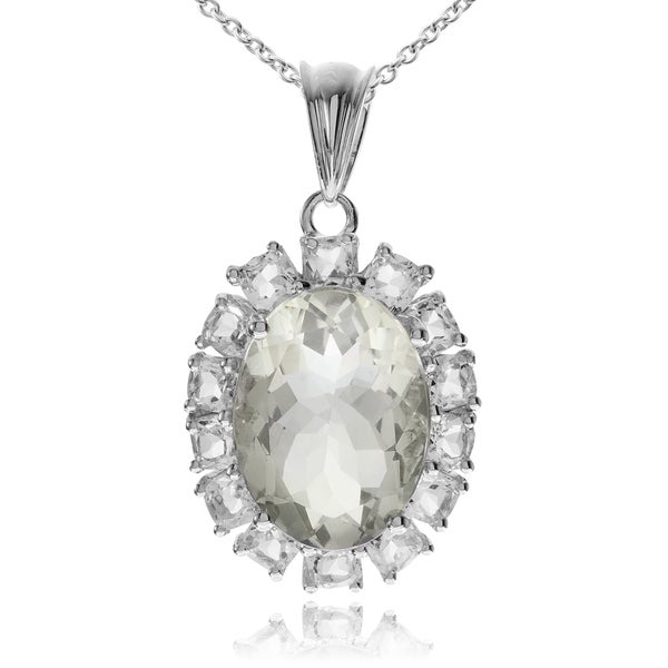Journee Collection Rhodium-plated Sterling Silver Green Amethyst Topaz Accent Pendant