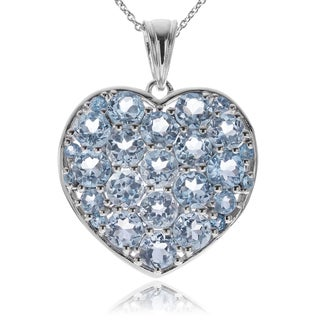 Journee Collection Rhodium-plated Sterling Silver Blue Topaz Heart Pendant