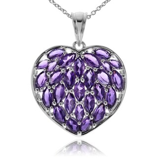 Journee Collection Rhodium-plated Sterling Silver Amethyst Heart Pendant