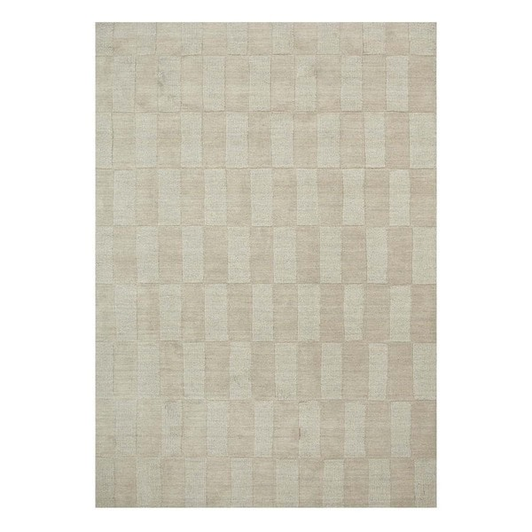 Handmade Casual Dark Ivory/Dark Ivory Wool (5x8) Area Rug
