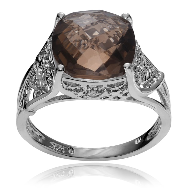 Journee Collection Rhodium-plated Sterling Silver White Smoky Topaz Ring