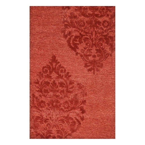Hand-Tufted Transitional Red/Red Wool/Viscose (5x8) Area Rug