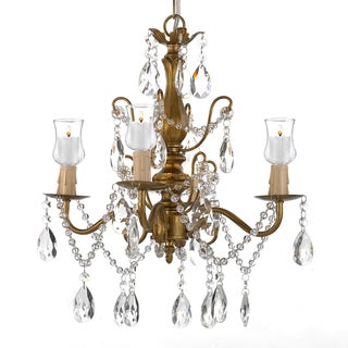 Wrought Iron & Crystal Gold Chandelier W/ Candle Votives