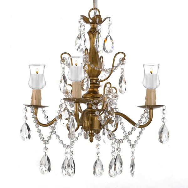 Wrought Iron & Crystal Gold Chandelier W/ Candle Votives 15862855