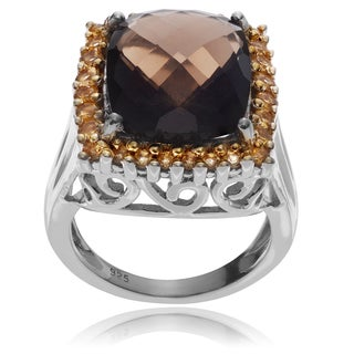 Journee Collection Sterling Silver Smoky Topaz Citrine Ring