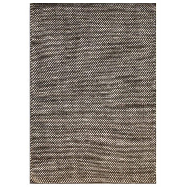 Flatweave Formal Dark Grey/White Wool (5x8) Area Rug