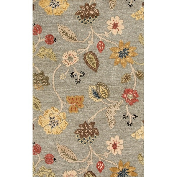 Hand-Tufted Transitional Sea Blue/Sea Blue Wool/Viscose (2.6x8) Area Rug
