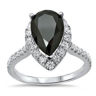 Noori 18k White Gold 2 1/2ct TDW Pear Black Diamond Engagement Ring (G-H, VVS1-VVS2)