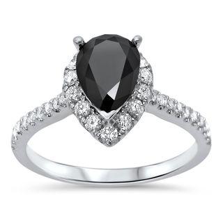 Noori 18k White Gold 1 1/2ct TDW Pear Black Diamond Engagement Ring (G-H, VVS1-VVS2)