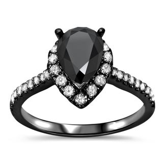 Noori Black Rhodium over 18k White Gold 1 1/2ct TDW Pear Black Diamond Engagement Ring (G-H, VVS1-VVS2)