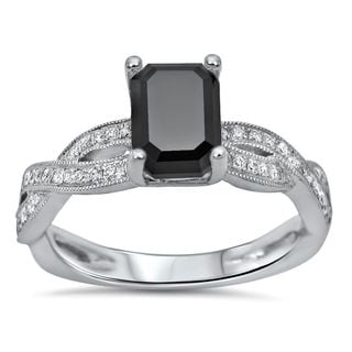 Noori 18k White Gold 1 1/3ct TDW Emerald-cut Black Diamond Infinity Knot Engagement Ring