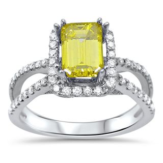 Noori 18k White Gold 1 3/5ct TDW Emerald-cut Canary Yellow Diamond Engagement Ring (G-H, SI1-SI2)