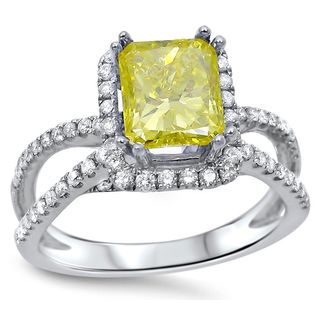 Noori 18k White Gold 1 3/5ct TDW Radiant-cut Canary Yellow Diamond Engagement Ring (G-H, SI1-SI2)