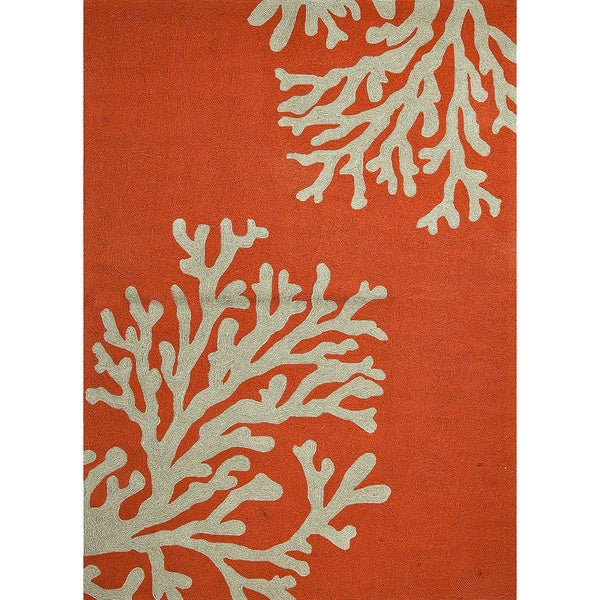 Hand-Hooked Casual Apricot Orange/ Tuffet Polypropylene Area Rug (6x6)