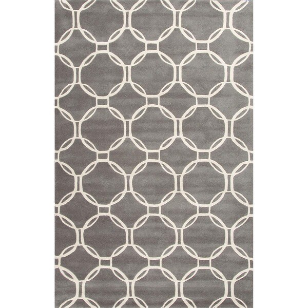 Hand-Tufted Contemporary Smoked Pearl/Egret Wool (6x6) Area Rug