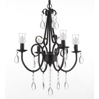 Wrought Iron & Crystal 4 Light Rustic Chandelier W/ Candle Votives